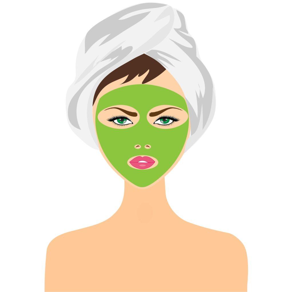 cartoon of green face mask on women